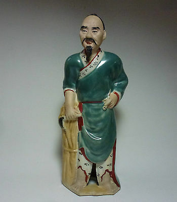 Chinese Porcelain Figurine of a Man, Farmer, Firewood, Realistic Facial Features