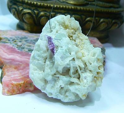 PINK  TOURMALINE WITH FLUORITE IN QUARTZ DRUSY CRYSTAL CLUSTER FOCAL BEAD 43mm