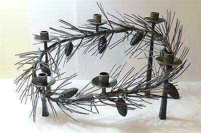 BARROWS Goth Cast Iron Pinecone / Needles 6 Hole Mantle Centerpiece / Candelabra