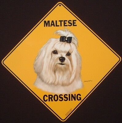 MALTESE  CROSSING SIGN aluminum dogs novelty decor picture signs home animals