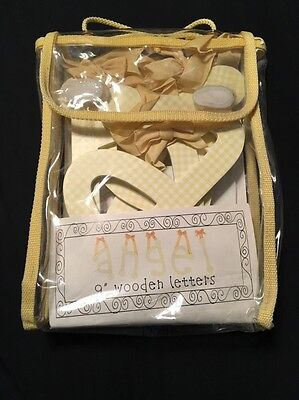 "New My Baby Sam 9"" Wooden Letters ""ANGEL""--yellow gingham with yellow ribbon"