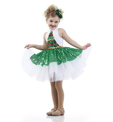 Oh Christmas Tree Sequin Tap Dress Holiday Ballet Dance Costume Child/Adult USA