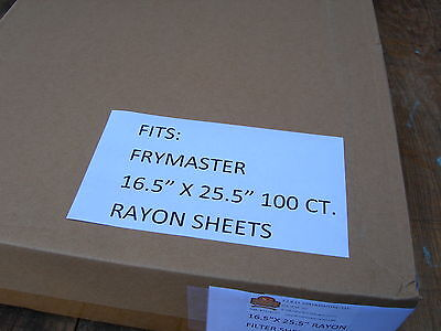 """16X25"""" FILTER PAPER 100ct. FITS FRYMASTER  HOT OIL RAYON FILTER SHEETS"""
