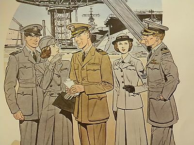 Druck 41 x 51 cm Uniforms of the UNITED STATES NAVY 1943 - 1944