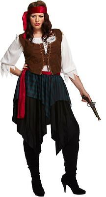 Ladies Caribbean Pirate Buccaneer Fancy Dress Party Costume Halloween Plus Size