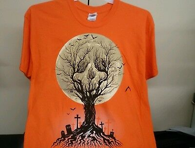 Unisex Halloween Shirt 100% Cotton size L(42-44) S Sleeve Orange NWT