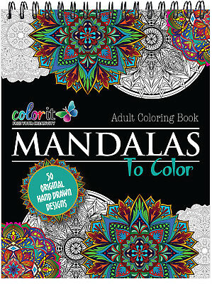 ColorIt - High Quality Mandalas to Color V1 Adult Coloring Book - Hard Cover NEW