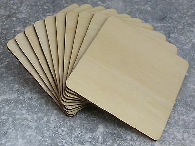 Solid Wooden Square Coasters Shapes 10cm Craft Supplies Squares Large Wood Blank