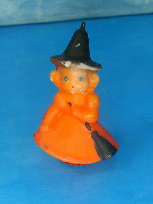 """Vtg 1950 Gurley Novelty Halloween WITCH Candle 3"""" Wax Unused w/ Tag Spooky"""