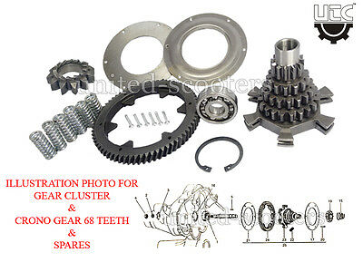 Vespa Px 125 Px 150 Stella Spring Gear Set With Outer Gear Rim 68 Cogs New P5031