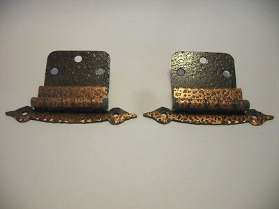 "Vintage Hammered Antique COPPER Plated HINGES 3/8"" Inset Cabinet Doors Art Deco"