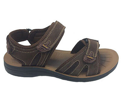 Mens Sandals ProActive Dean Triple Leather Upper Brown Size 7-12 New Adjustable