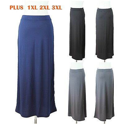 Womens Plus Size Maxi Long Skirt Solid Plain Casual Elastic Waistband 1XL 2XL 3X