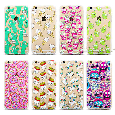 Cute Pattern Soft TPU Silicone Clear Hard Back Case Cover For iPhone 6 6s 7 Plus