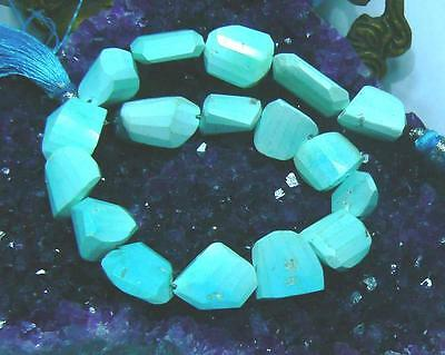 Natural Arizona Sleeping Beauty Baby Blue Faceted Turquoise Nugget Beads Strand