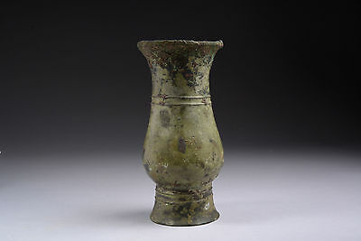 Ancient Chinese Shang Dynasty Bronze Wine Vessel Zhi - 1150 BC