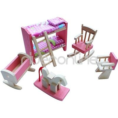 Lot 6 Set Wooden Doll House Bedroom Miniature Furniture Kids Child Play Toy Gift
