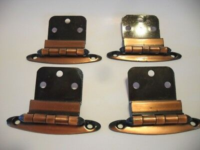 "2 Pair Vtg Antique COPPER Plated Steel Hinges 3/8"" Inset Cabinet Doors Amerock"