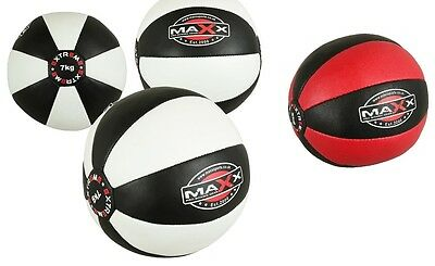 Maxx Heavy Duty Leather Medicine Ball 2kg / 12kg Exercise Fitness BOXING PUNCH Z