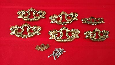 """7 Pc ANTIQUE Brass METAL DRAWER PULL HANDLES SWING ARMS ILCO CANADA 6"""" & 4"""" ✞"""