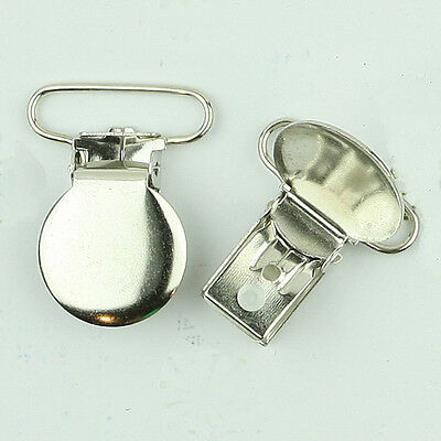 1 INCH - Round Faced Metal Clips / Suspender Clip/ Dummy/Pacifier/Paci Holder