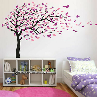 Blowing Tree Birds Wall Stickers Nursery Decal Baby Kids Art Decor Removable DIY