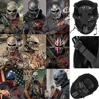 Protection Gear Tactical Outdoor War Game Paintball Full Face Airsoft Skull Mask