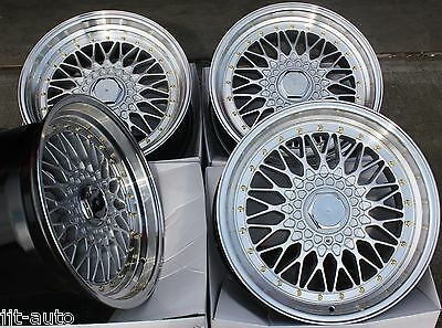 """17"""" Rs Silver & Polished Style Deep Dish Alloy Wheels 4X100 Euro Style 17 Inch 1"""