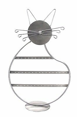 Cat Earring Jewelry Metal Display Stand Rack Holder For 28 Pairs Of Earrings