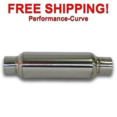 "Exhaust Muffler / Resonator - 304 Stainless Steel - 2.5"" IN/OUT - 16"" OAL"