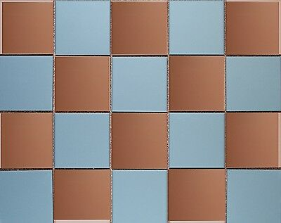 Victorian reproduction unglazed floor tiles - Blue & Red Chequerboard