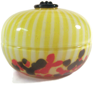 Czech Yellow Art Deco Tango Glass Dresser Powder Candy Jar Welz Czechoslovakia