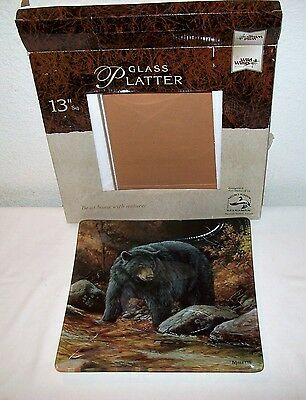 Large Glass Display Black Bear Wild Life Plater/tray