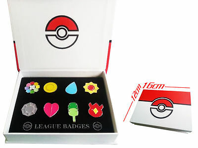 Pokemon Gym Badges Gen 1 Kanto League Complete Set of 8 Metal Pins Cosplay