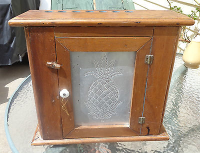 fine antique punched tin door kitchen    spice cabinet