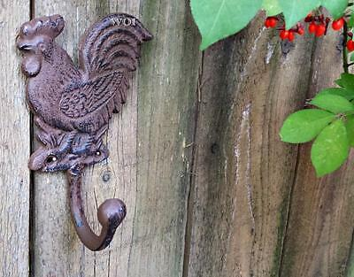 Rustic Country Rooster Chicken Shabby Wall Hanging Utility Hook Bird Hanger Rust