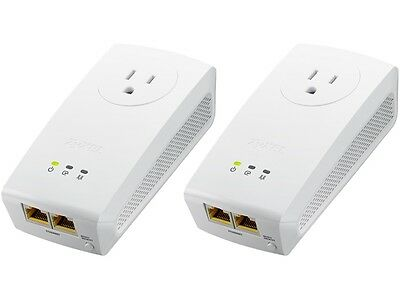 ZyXEL PLA5256KIT HomePlug AV2 SISO AV1000 Powerline Pass-Thru 2-Port Gigabit Eth