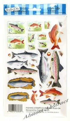 Fishing Stamps III - E-Z Rub-On Transfers (Decals) ~ New