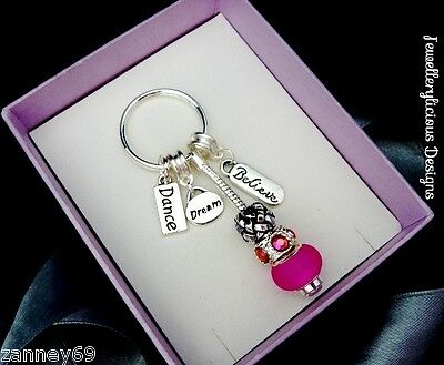 Beautiful DANCE DREAM BELIEVE Pink Bead & Pink AB Crystal Keyring Key Ring