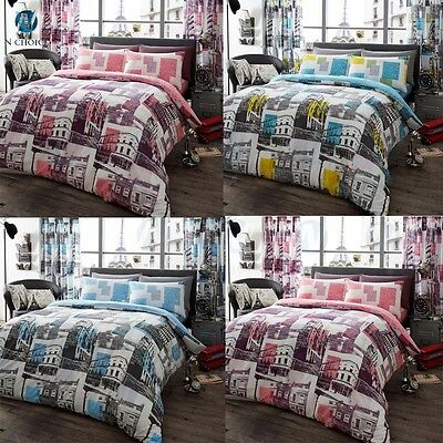 4pcs Complete Set With Fitted Sheet LONDON TO PARIS Bed Linen lot size BEDROOM