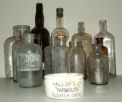 Antique Lot 13 Bottles; Apothecary, Liquor, Quack Medicine, Beauty,Household,Etc