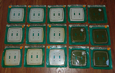 Lot 15 NOS New Vintage Edmar Creation Wall Switch Plate Covers Retro White Green