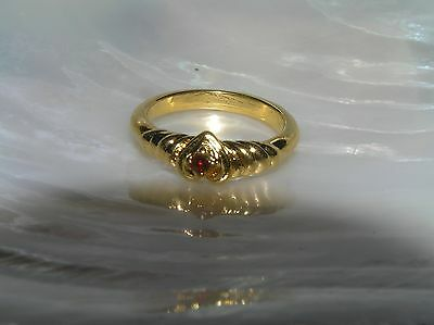 Estate Dainty Goldtone Swirl with Heart & Red Rhinestone Ring Size 5 – widest
