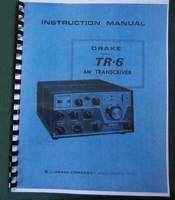 "Drake TR-6 Instruction Manual: 11""X17"" Foldout Schematic & Protective Covers!"
