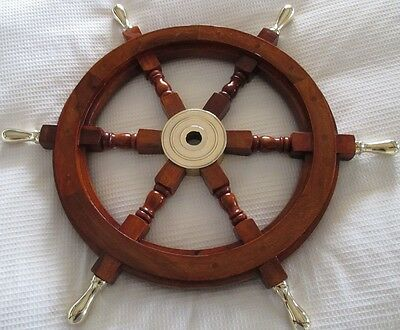 Wooden Ship's Wheel with Brass Handles 28''