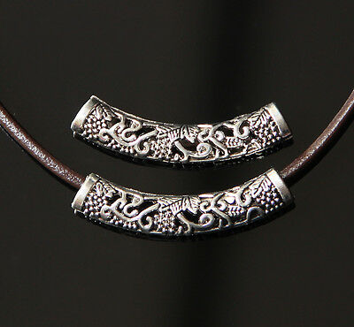 """4X Tibetan Silver Arc Hollow Carved Tube Spacer Beads Fit Euro Chain 1.95"""""""