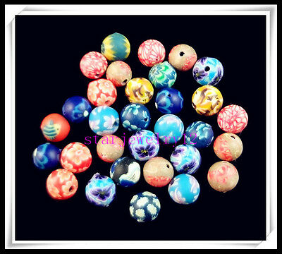50Pcs Nice Colorful Polymer Clay Charm FIMO Loose Spacer Beads 6mm