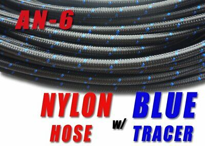 """AN 6 -6 5/16"""" Nylon Braided Stainless Steel Fuel Hose Line 1M E85 friendly"""