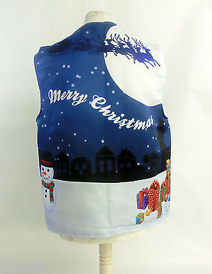 Blue Christmas Village Design Wacky Waistcoat Fun & Fancy L&s Prints