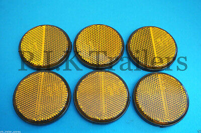 6 x AMBER Self Adhesive Stick on 60mm Round Side Reflectors - Trailer